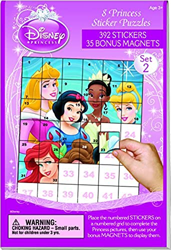 Disney Princess Sticker Puzzle Book  2 w  Magnets New by Lee Publications