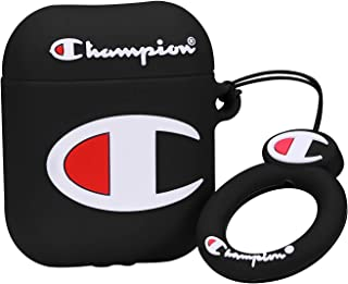 Coralogo Compatible with Airpods 1/2 Cute Case, 3D Cartoon Character Silicone Airpod Designer Skin Kawaii Funny Fun Cool Keychain Design Cover Kids Teens Air pods Cases for Girls Boys(Black Champin)
