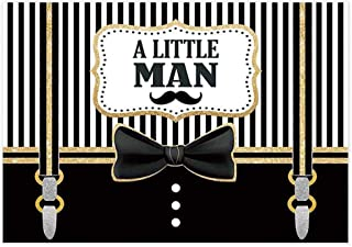 Allenjoy 7x5ft Our Little Man Theme Black and White Stripes Backdrop Bow Tie Gentleman Mustache Party Decorations Boys 1st Birthday Banner Welcome Baby Shower Photography Background Photo Booth Props