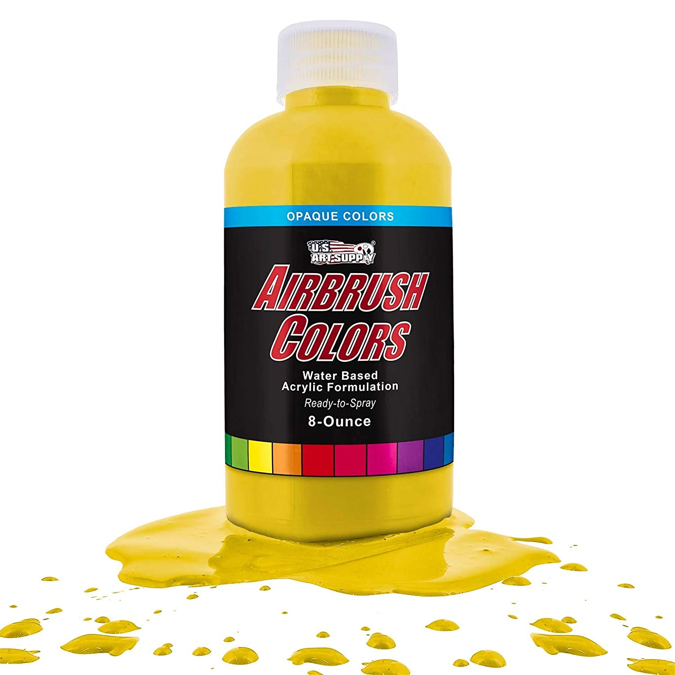US Art Supply Bright Yellow Opaque Acrylic Airbrush Paint 8 oz.