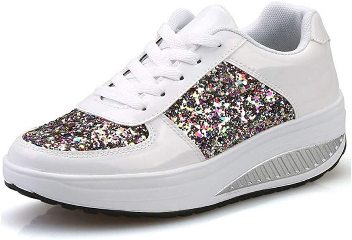 U-MAC Womens Wedge Sneaker Lace Up Round Toe Rocking shoes Platform Sequins Light Weight Slip On Walking shoes