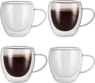NexusWares Double Wall Insulated Coffee Mugs Gl for Espresso, Cappuccino, Tea, Latte, Beverage Hot/Cold, Clear, 8.5 Ounces...