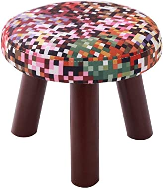 Carl Artbay Wooden Footstool Colorful Plaid Three Legged Stool Round Cotton Linen Cloth Shoe Shoes Washable Household Home