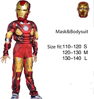 Halloween Costume Superhero Cosplay Fancy Dress Halloween Party for Kids Boys- Iron Man (Red)