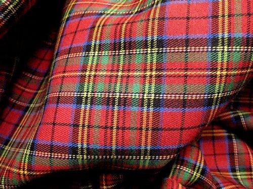 Red Blue Green Mini Stuart Scotch Plaid Tartan Cotton Fabric 44' W