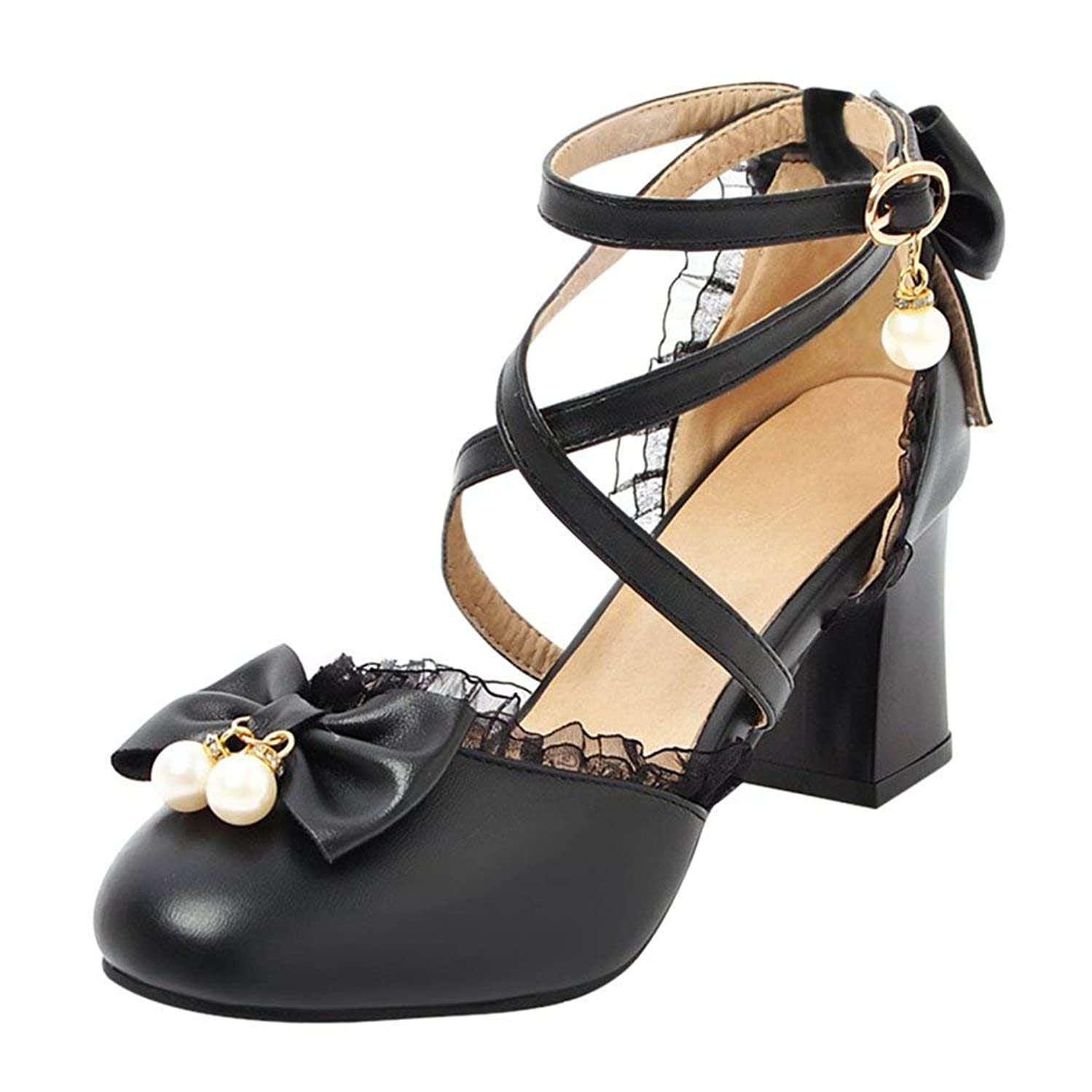 COOLULU Womens Mary Janes Pumps Mid Block Heel Court Shoes with Bow Pearls Ankle Strap Buckle Lolita Shoes