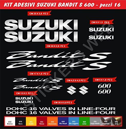 Pimastickerslab Aufkleber Aufkleber Suzuki Bandit S600600Kit 16Teile?wählen Colore- Moto Motorrad Cod. 0079 - Argento cod. 090