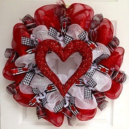 Valentines Day Glittering Heart Handmade Deco Mesh Wreath