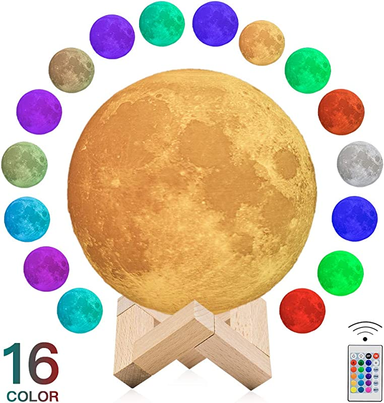 BRIGHTWORLD 16 Colors Moon Lamp 3D Printed LED USB Rechargeable Decorative Night Light With Stand Remote And Touch Control As Gift For Kids Friends Lover 5 9 Inch