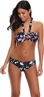 Women's Floral Bikini Set Triangle Bathing Suit Halter Two Piece Swimsuit Swimwear with High Waist Swim Bottom