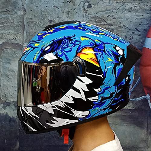 Qazx - Gafas de plata para adultos y hombres y mujeres, redondas, casco de moto completo para bicicleta de montaña, cruiser Cruiser Fast Downhill, protección para casco Dot/ECE estándar, S