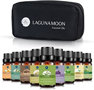 Lagunamoon Aceites Esenciales, Top 10 Set de Viaje de Aceites de Aromaterapia de Lavanda, Eucalipto, Hierba de Limón, Menta, Arból de Té, Jazmín, Aceites Esenciales para Humidificador, 100% Puros
