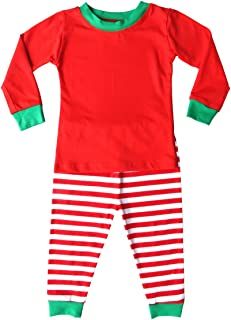 Rocket Bug Holiday Christmas Red & White Striped Pajamas with Green Trim for Babies, Toddlers, Big Kids