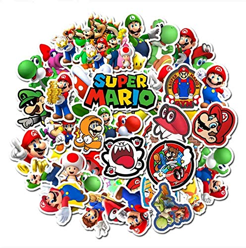 Huayao 50pcs Aufkleber Super Mario Anime Sticker Set Super Mario Stickers Wasserdicht für Laptop Wasserbecher Skateboard Gitarre Mobiltelefon Fahrrad Motorrad Kofferraum