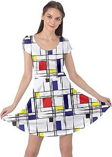 CowCow Womens Colorful Retro Geometric Gem Triangle Abstract Rainbow Short Sleeve Dress, XS-5XL