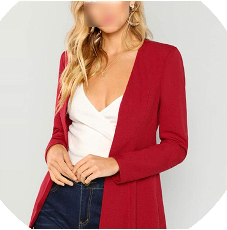 Blazer Elegant Longline Workwear Coat Women Long Sleeve Plain Outerwear