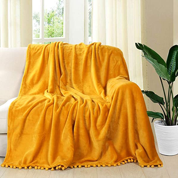 LEEVAN Throw Blanket Luxury Flannel Pom Pom Fringe Plush Bed Yellow Throw Lightweight Velvet Blankets For Couch Sofa Chair Suitable For All Seasons
