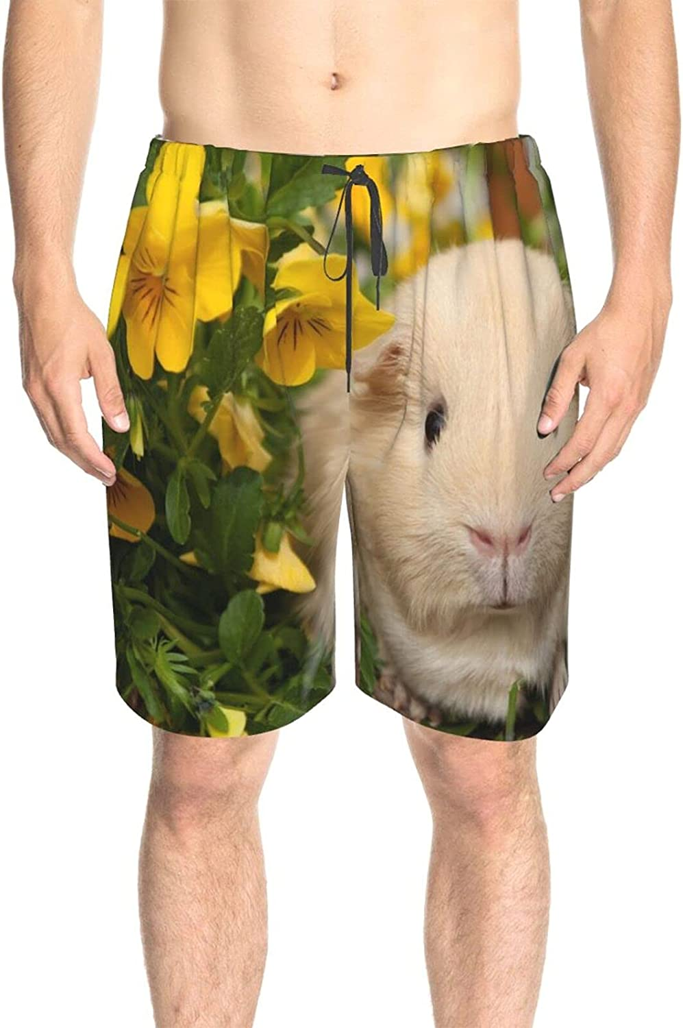 Mens Bathing Suits Yellow Flower Guinea Pig Swim Short Boardshort Drawstring 3D Printed Swimwear Bathing Suits with Liner
