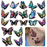 126Pcs Butterfly Temporary Tattoo, 3D Stickers Tattoo, Butterflies and Flowers Temporary Tattoos Stickers, Colorful Body Art Temporary Tattoos for Women Kids