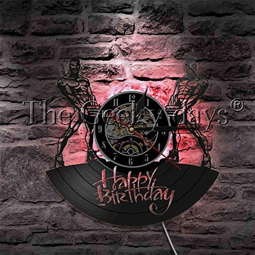 Birthday Cake LED Light Logo Vinilo Wallwood mesa lámpara de mesa lámparas de mesa de noche lámpara de mesa de batería
