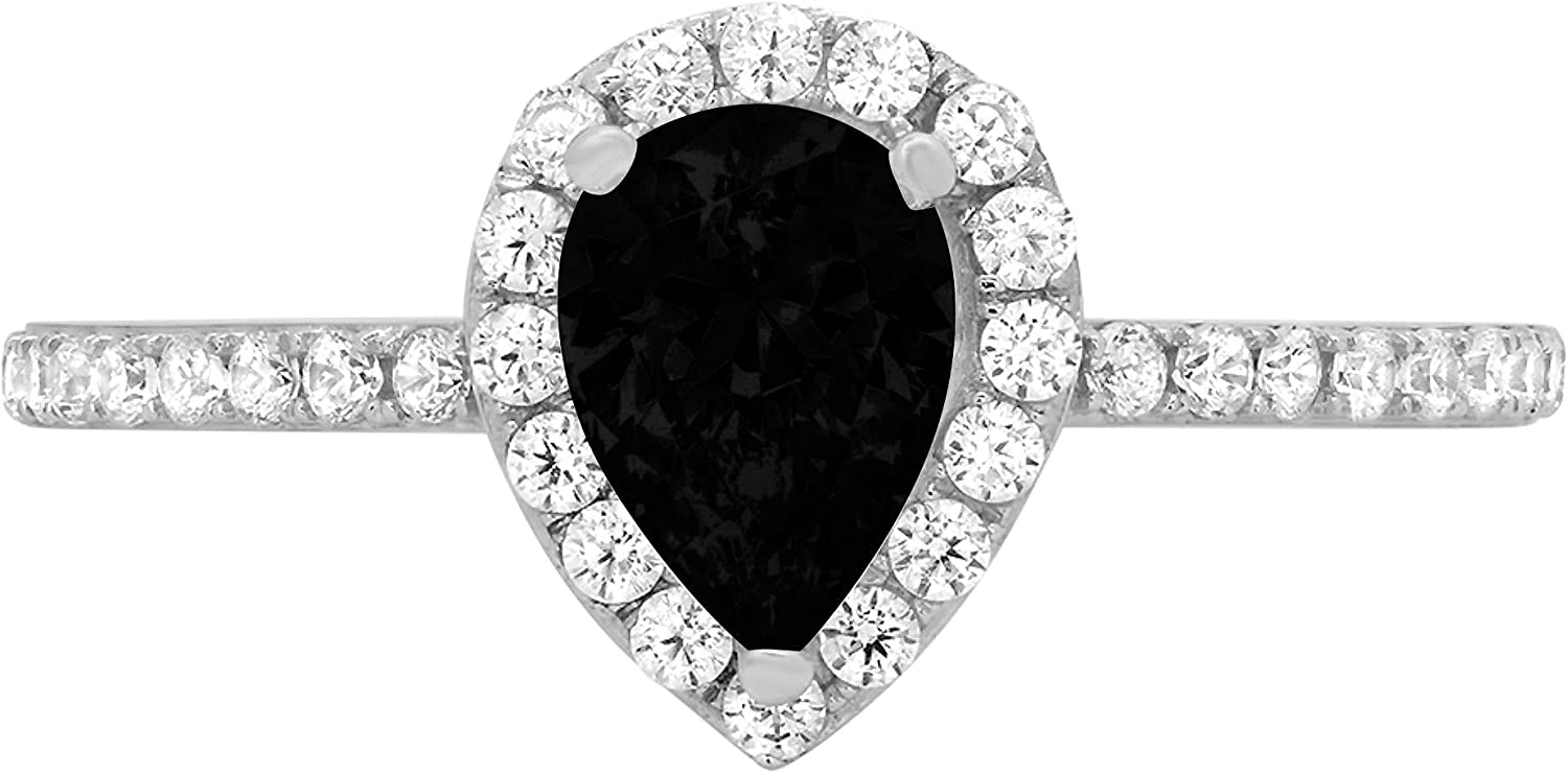 1.22ct Brilliant Pear Cut Solitaire Accent Genuine Flawless Natural Black Onyx Gemstone Engagement Promise Anniversary Bridal Wedding Ring Solid 18K White Gold