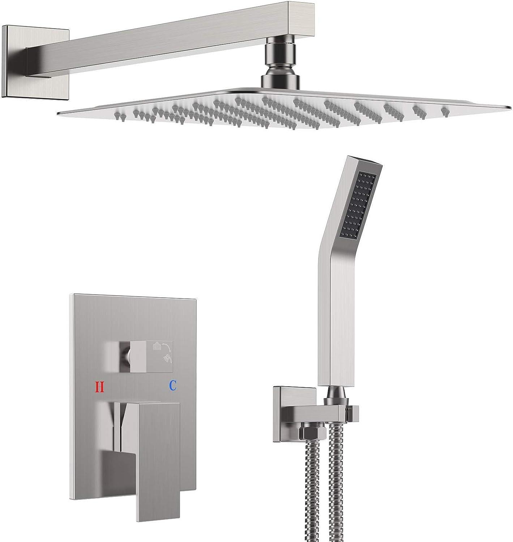 S R SUNRISE Duschsystem - gebürstetes Nickel-Duschhahn-Set für Badezimmer - hochmoderne Air Injection-Technologie - 10  quadratischer Regenduschkopf - einfache InsGrößetion - umweltfreundlich