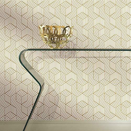 Metallic Gold Striped Hexagon Peel and Stick Wallpaper