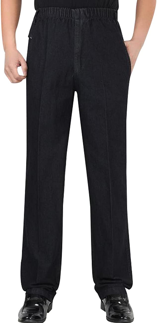 Zoulee Men's Elastic Waist Zip Fly Denim Pull On Jeans Straight Trousers