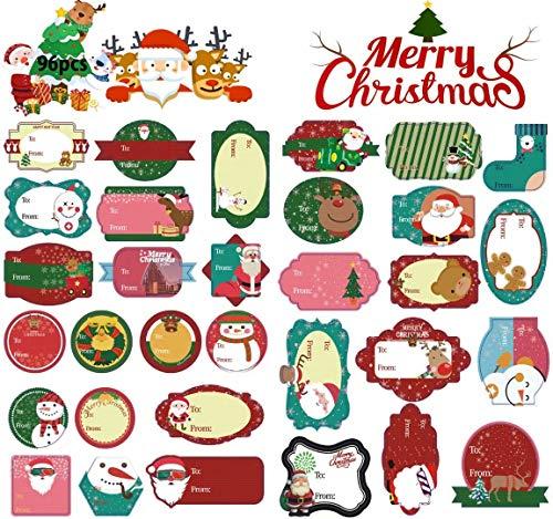 Pegatina Navidad Etiqueta Adhesiva Decoracion, para Cuadernos,Tarjetas de felicitación, Sellos de Sobres, Diario, Decoración Navideña, Otro Arte de Bricolaje(96 pegatinas)