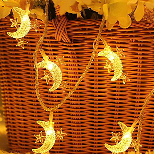 HEDELE Moon Mini Star String Lights Battery Operated,16.4ft 50led Twinkle Lights String Lights for Patio Garden, Wedding, Christmas and Holiday Decorative Lights (Warm White Light)