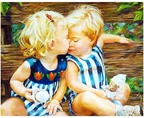 DLILI Pintar por números niños, Adultos, Bricolaje, Kit Pintura al óleo Principiantes, Besos niño Rubio 16 'x 20' FJA-491