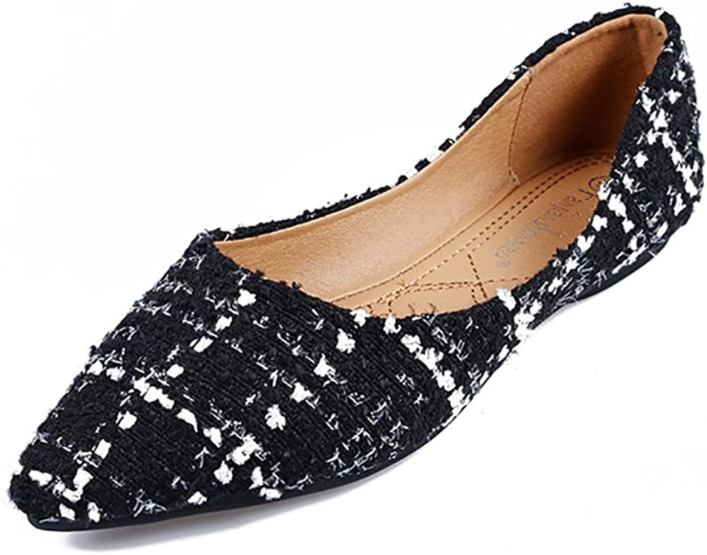 Max 41% OFF Meeshine Womens Classic Pointy Toe Ballet Selling and selling Plaid Slip Dr On Flats