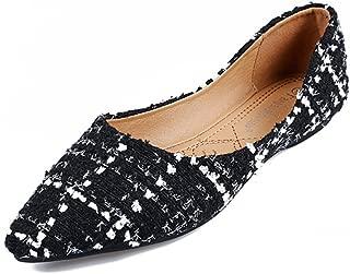 Womens Classic Pointy Toe Ballet Flats Slip On Plaid Dress Flat Shoes