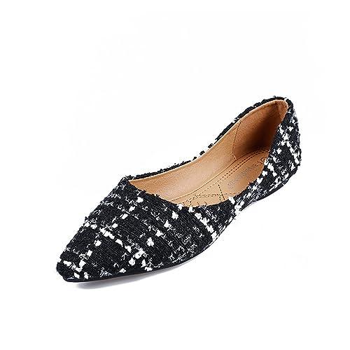 46bf97958e Meeshine Womens Classic Pointy Toe Ballet Flats Slip On Plaid Dress Flat  Shoes
