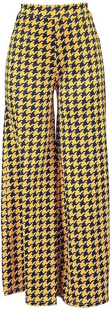 YKARITIANNA Women Lady Fashion Plaid Print Lounge Long Pants Casual Plus Size Wide Leg Pants