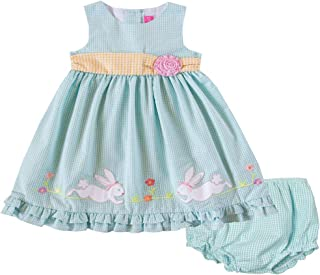 Good Lad Newborn/Infant Baby Girls Turquoise Seersucker Dress with Easter Bunny Appliques