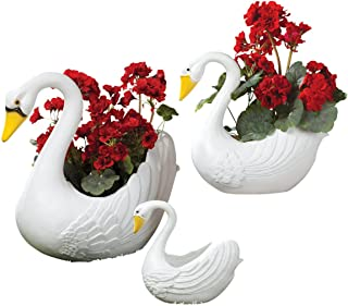 Fox Valley Traders Classic Indoor/Outdoor White Swan Planters, Home Garden Décor, 3 Piece Set