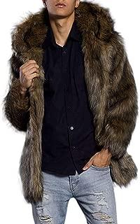 Men's Faux Fur Trench Coat Jacket Parka Thicker Warm Outwear Cardigan