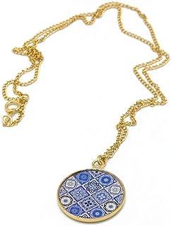 Collana Azulejos ottone oro 24k riempito oro 24k 14K blu resina Lisboa regali personalizzati regali di Natale regalo di co...
