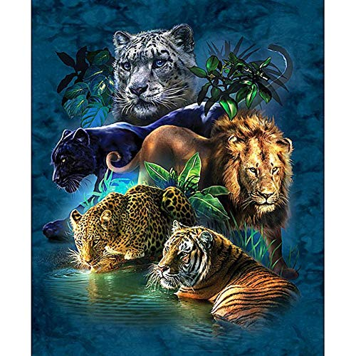 Dtdsht 5D DIY Diamond Painting Embroidery Jungle Animal 3D Full Round Diamond Cross Embroidery Set Mosaic Home Craft Decoration(19.7x27.6inch)