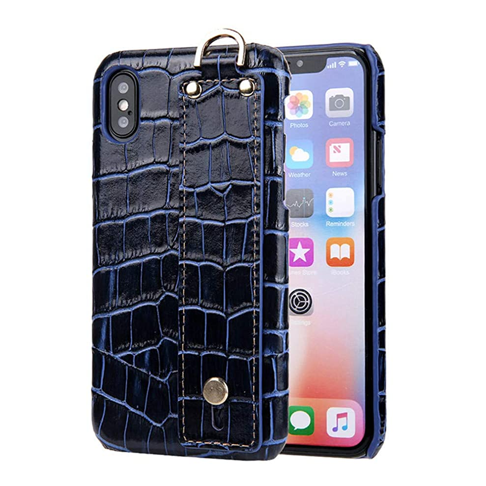 Lumeng Mobile Phone Cases for iPhone X/Apple 10 Leather Crocodile Pattern Bracelet Back Shell Phone Case (Color : Blue) dhzyuenyp2203