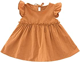 Kehen Kids Toddle Girls Party Clothes Pom Pom Fold Short Solid Lace Princess Dress