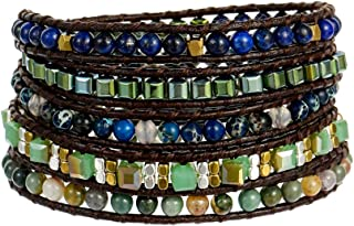 Plumiss Boho Natural Stone Crystal Beaded Mixed Handmade Multiple Wrap Statement Bracelet for Women Men Collection