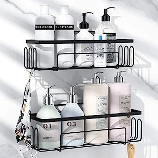 浴室用ラック 強力粘着固定 お風呂の壁に ステンレス シャワーラック 水切り 風呂場洗面所収納壁掛け棚 収納ラック 2段式