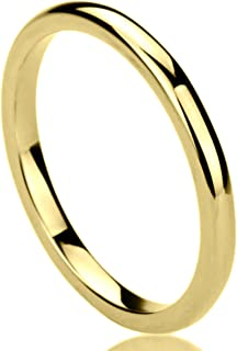Titanium Wedding Band Ring for Women Yellow Tone High Polished Classy Domed Ring for Woman