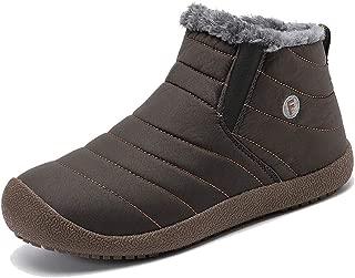 YIRUIYA Men's Waterproof Fully Fur Lining Boots Winter Snow Shoes
