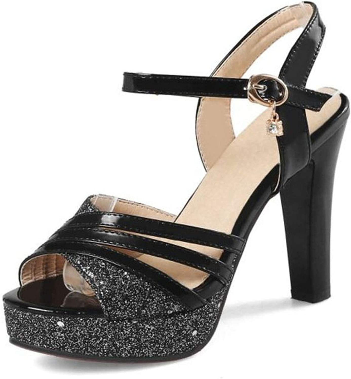 Fairly Sweet High Heels Female Thick Heel Paltform Crystal Buckle Summer shoes,Black,6