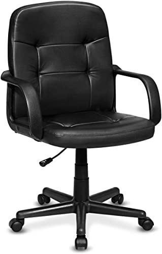popular Giantex new arrival Executive Chair Mid Back Office W/Arms and new arrival Swivel Wheels, Ergonomic PU Leather for Home Office Use Computer Desk Task Chair outlet online sale