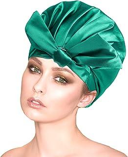 Dwuwarstwowe duże czapki prysznicowe kokardka czepek kąpielowy wielokrotnego użytku wodoodporna wstążka turban czapka do s...
