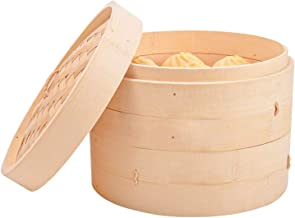 MANO 12inch Bamboo Steamer Baskets with Lids for Food Steamer Cookware for Vegetables, Meat, Rice,Dumplings, Dim Sum